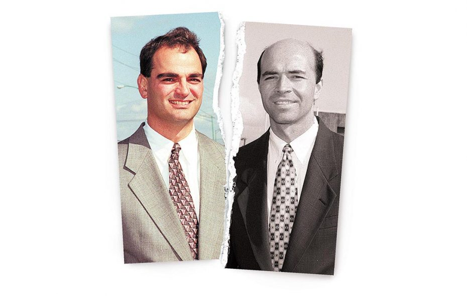 """Ross Cellino, left, and Steve Barnes have been smiling down on Buffalo expressway commuters for two decades, while their constant jingle with all those """"8s"""" plays out on the car radio and television ads. (News file photos/illustration)"""