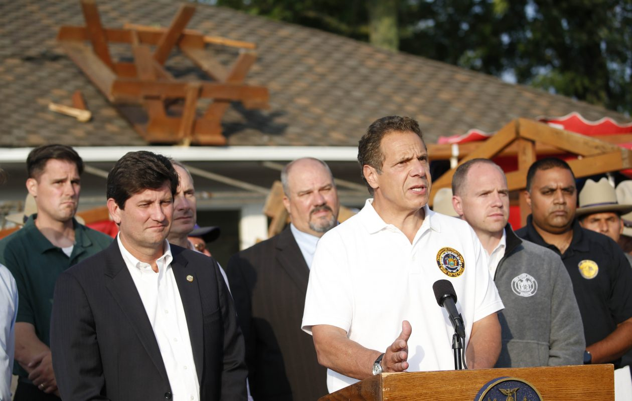 Gov. Andrew Cuomo joined by local officials addressed the media about a tornado that damaged the Erie County Fairgrounds, Thursday, July 20, 2017.   (Sharon Cantillon/Buffalo News)