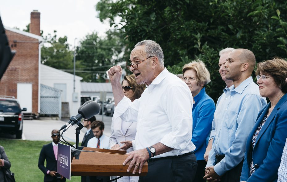 Sen. Chuck Schumer (D-N.Y.) speaks at Rose Hill Park in Berryville, Va., July 24, 2017. Democrats gathered in a small town in Virginia on Monday to unveil the economic themes they hope to run on in 2018 as they look beyond President Donald Trump. (Justin T. Gellerson/The New York Times)