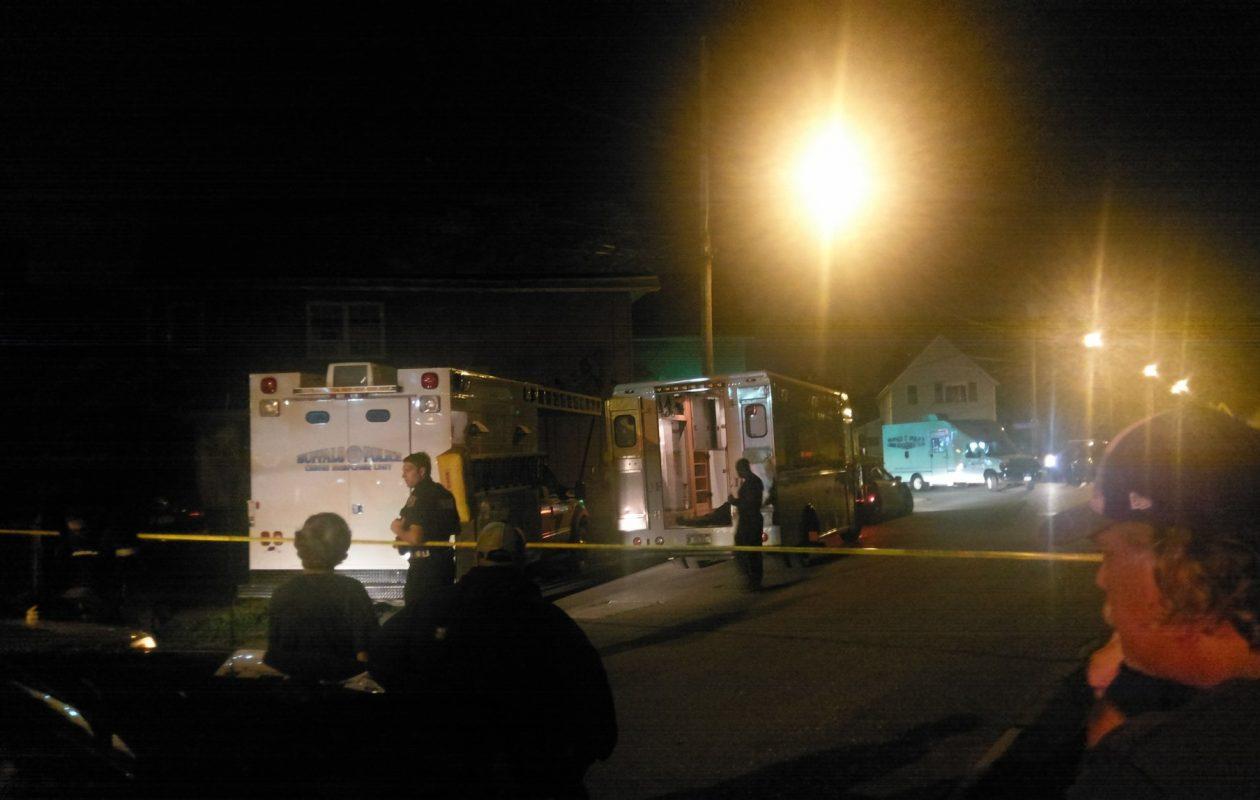 Buffalo police have locked down the area near the second block of Thomas Street. (Justin Trombly/Buffalo News)