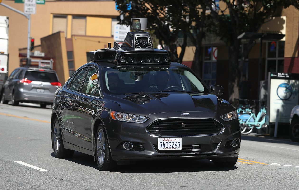 An Uber self-driving car drives down 5th Street on March 28, 2017, in San Francisco. (Photo by Justin Sullivan/Getty Images)
