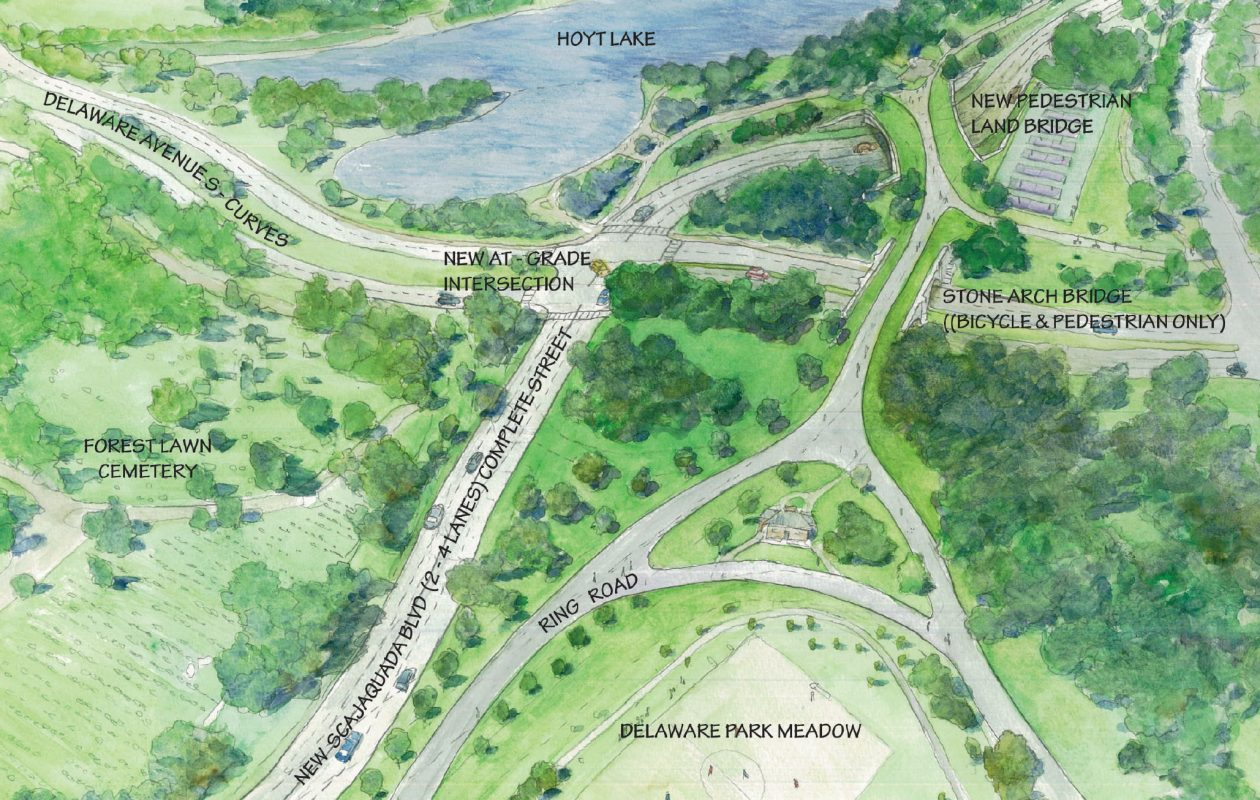 A rendering of Vision for the New Buffalo - Route 198 – Delaware Avenue intersection.