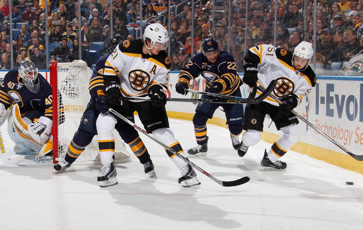 The Sabres' Robin Lehner (40) and Johan Larsson (22) joined Boston's Ryan Spooner (51) in filing for arbitration Wednesday. (Getty Images)