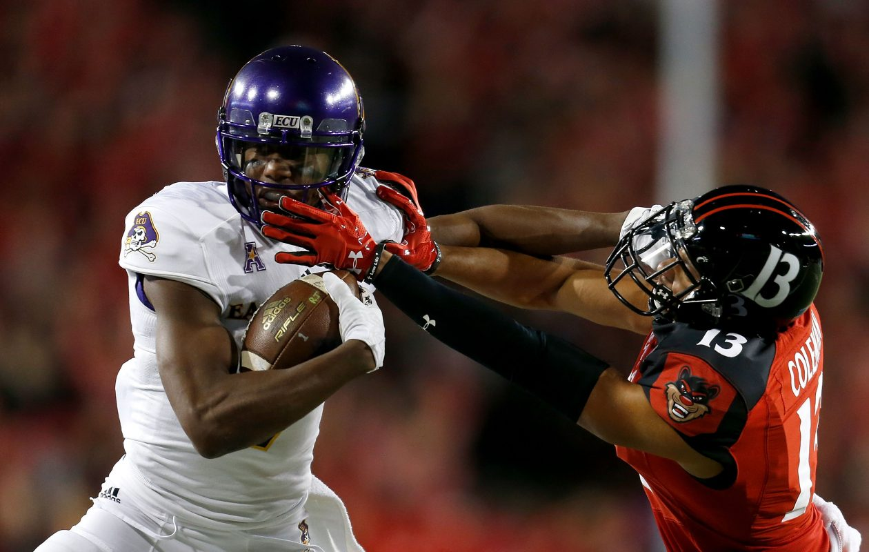 Bills rookie receiver Zay Jones, left, set single-season and career records for receptions while at East Carolina. (Getty Images)
