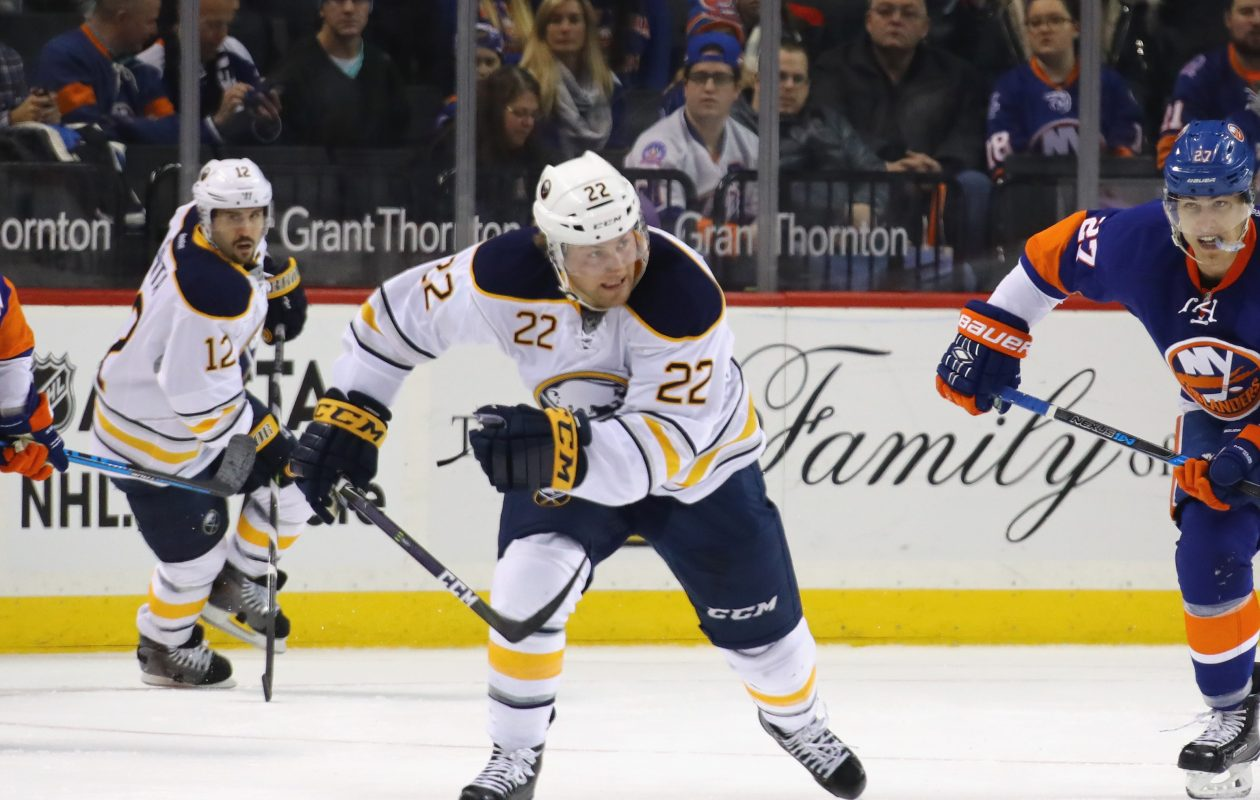 Johan Larsson has played 177 games for the Sabres, recording 22 goals and 44 points. (Getty Images)