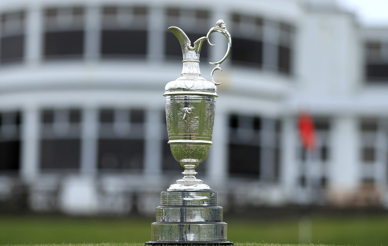 The Claret Jug outside the clubhouse at Royal Birkdale in Southport, England. (Getty Images)