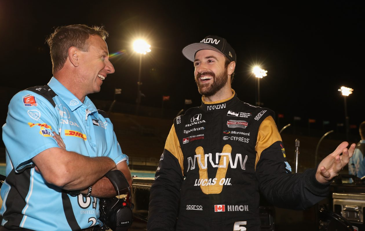James Hinchcliffe of Canada, driver of the #5 Schmidt Peterson Motosports Honda on the grid before qualifying for the Desert Diamond West Valley Phoenix Grand Prix at Phoenix International Raceway on April 28, 2017, in Avondale, Ariz. (Photo by Christian Petersen/Getty Images)