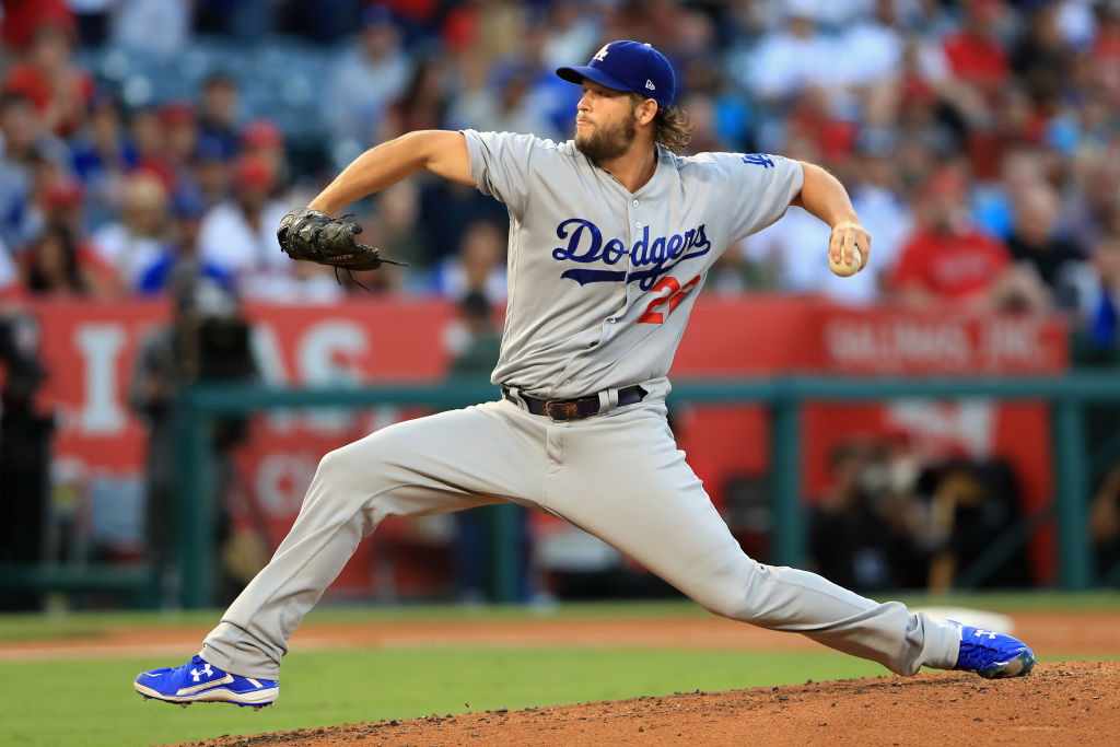 Clayton Kershaw of the Los Angeles Dodgers pitches during the second inning of a game against the Angels on June 29, 2017 in Anaheim, California.  (Getty Images)