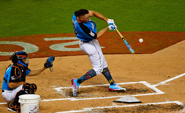 MIAMI, FL - JULY 10:  Aaron Judge #99 of the New York Yankees competes in the T-Mobile Home Run Derby at Marlins Park on July 10, 2017 in Miami, Florida.  (Photo by Mark Brown/Getty Images)