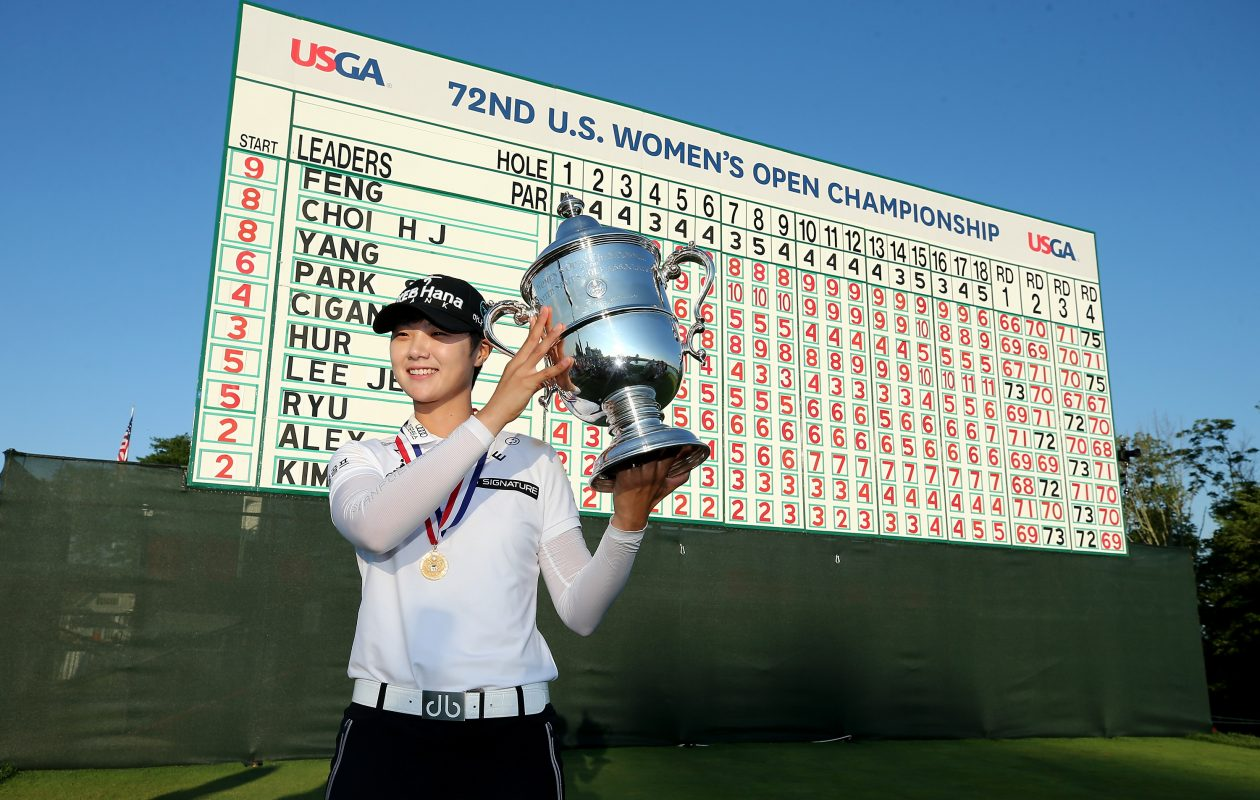 Sung Hyun Park of Korea poses with the trophy after the final round of the U.S. Women's Open. (Elsa/Getty Images)