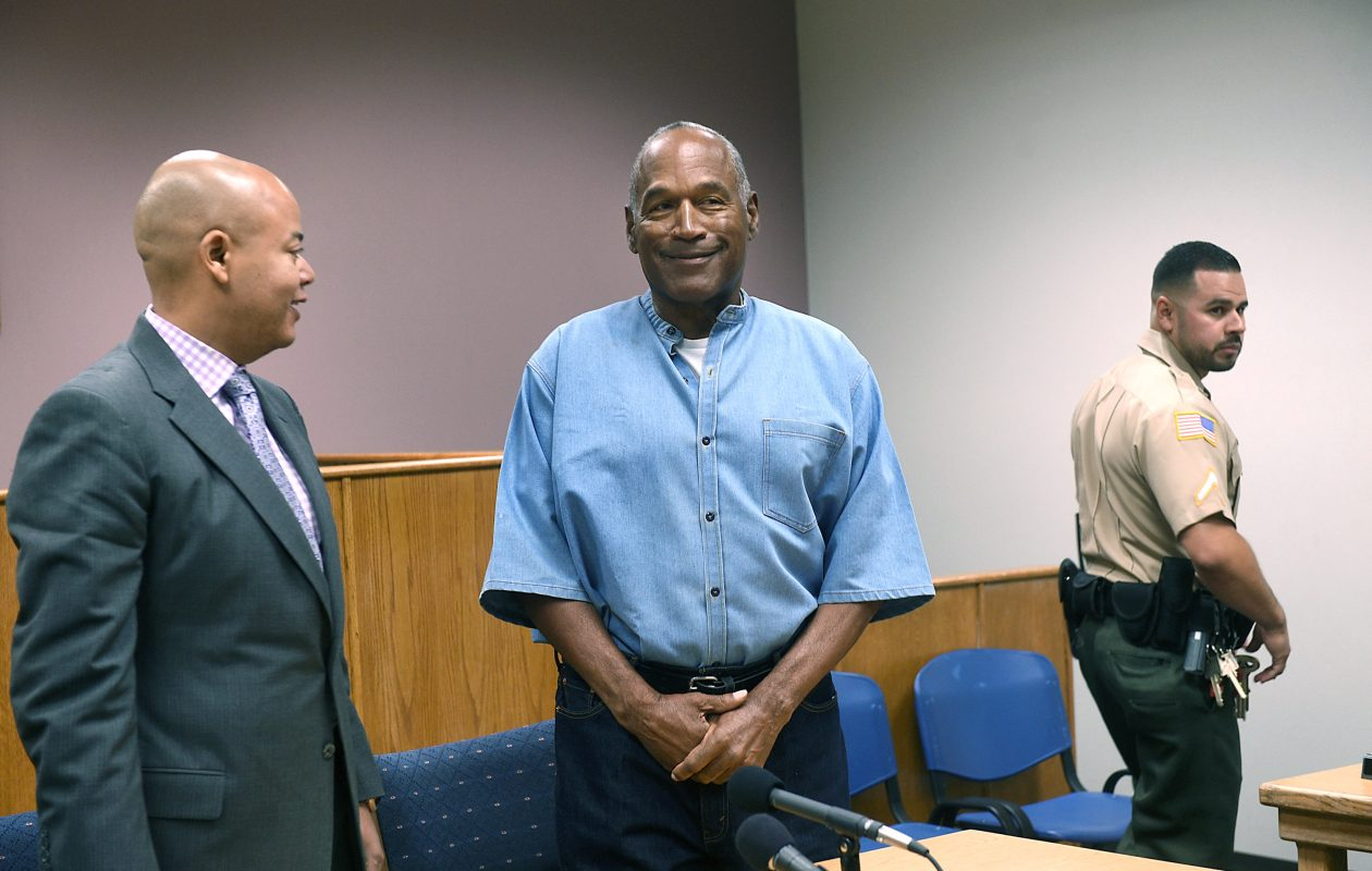 O.J. Simpson stands next to attorney Malcolm LaVergne at his parole hearing on Thursday. (Getty Images)