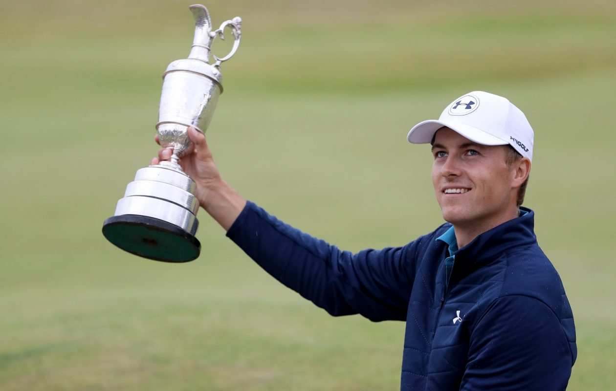 Jordan Spieth celebrates his British Open victory. Channel 2's broadcast may have confused golf novices with its failure to mention a potential one-shot penalty. (Photo by Christian Petersen/Getty Images)