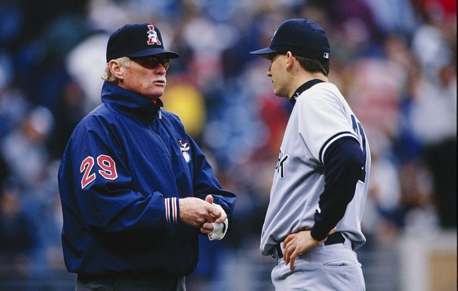 Umpire John Shulock speaks with Brian Boehringer of the New York Yankees during the game against the Chicago White Sox at Comiskey Park on April 20, 1997 in Chicago, Illinois. (Getty Images)