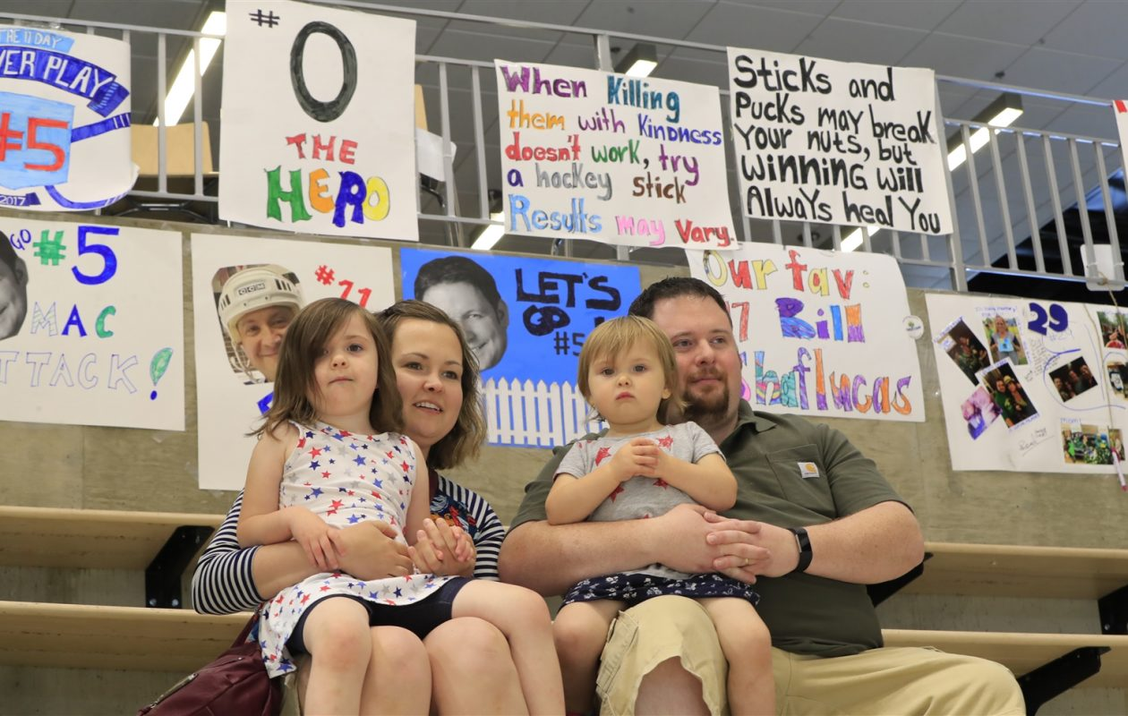 Mike Chirico, his wife Liz and daughters Riley and Anna show their support during day 9 of the 11 Day Power Play at HarborCenter on Saturday, July 1, 2017. (Harry Scull Jr./Buffalo News)