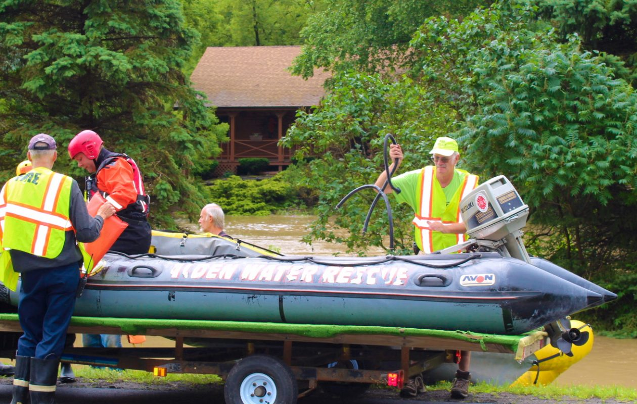 A woman was rescued from her home in Alden after Cayuga Creek overflowed. (Photo courtesy of Shawn F. McMahon)