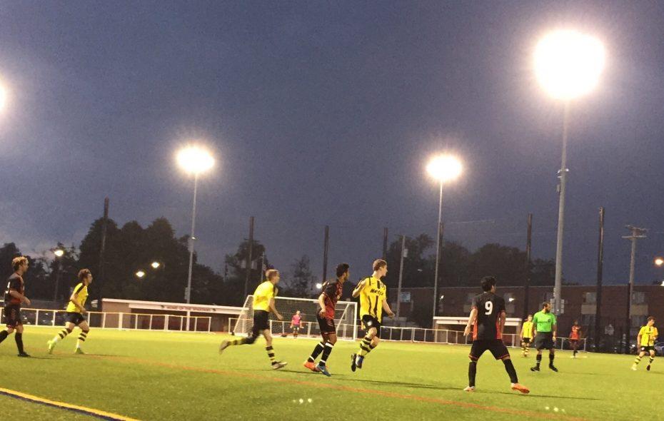 Pendleton United, in yellow, fell Thursday night to Yemen Elite. (Ben Tsujimoto/Buffalo News)