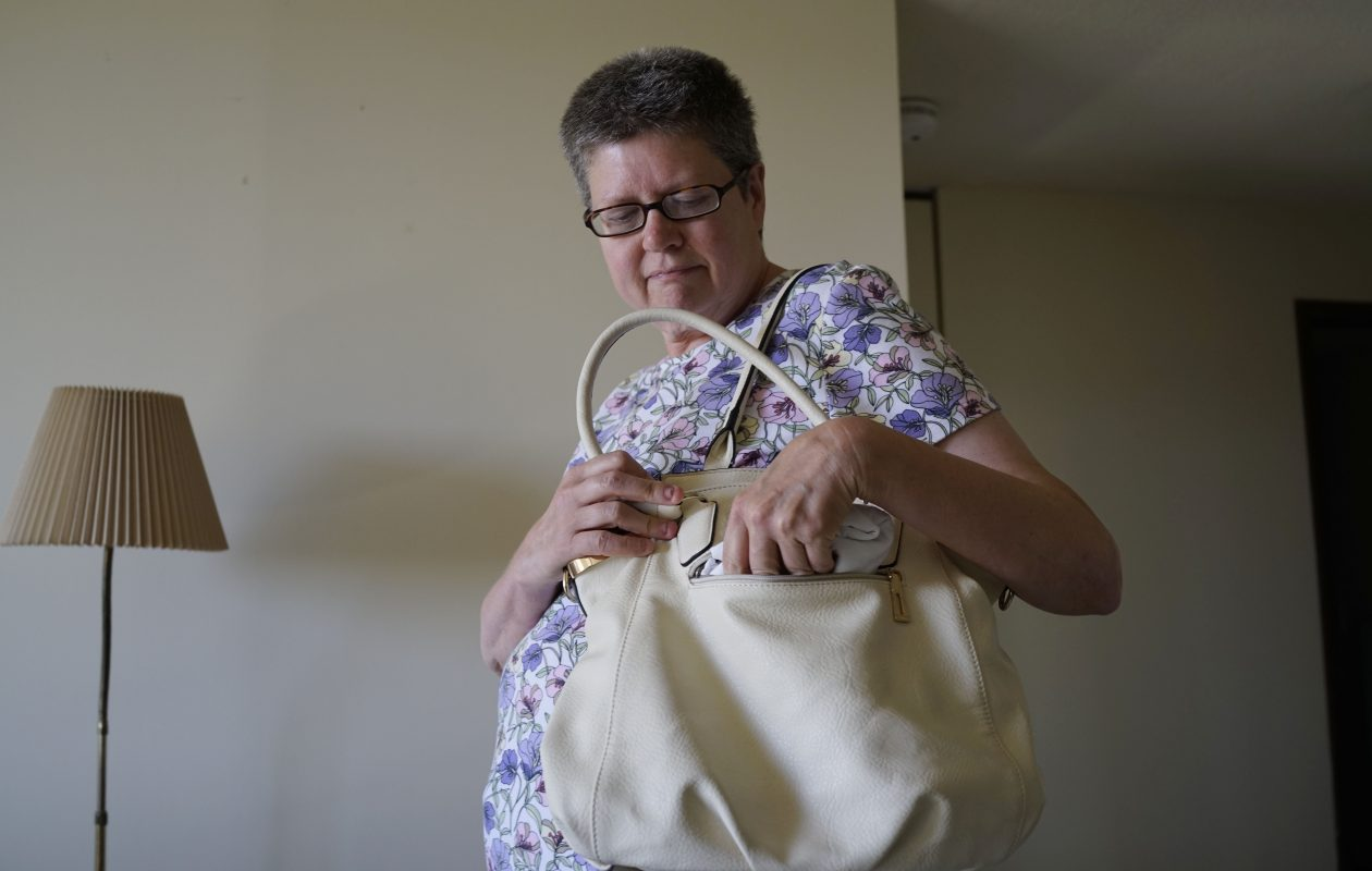 Jacky Roberts was turned away from entering the fireworks event at  Canalside on July 4, 2017, because she had this purse, which is larger than the 5x7 clutches security at Canalside was allowing the public to bring inside. She went home in tears unable to see the fireworks. (Derek Gee/Buffalo News)