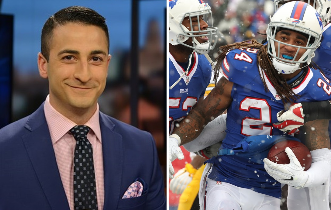 WGRZ's Jonah Javad earned national notice for his response to Stephon Gilmore's tweet. (Photos courtesy of WGRZ-TV; James P. McCoy/Buffalo News file photo)