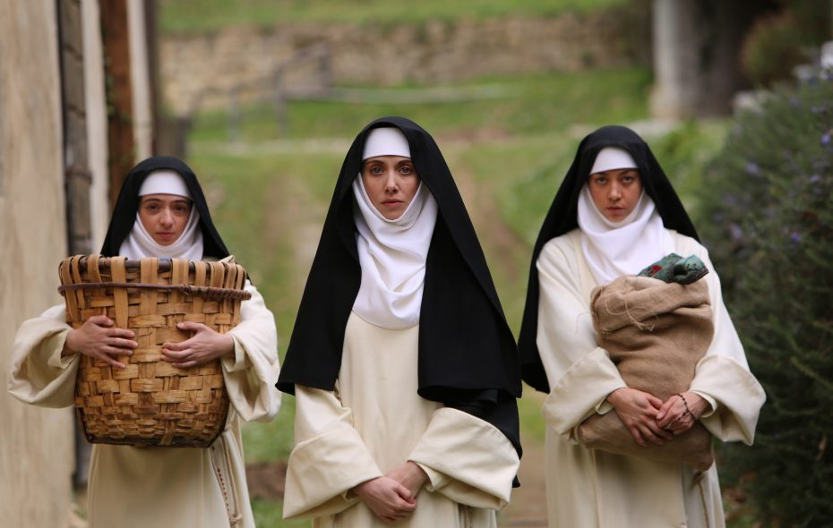 "Kate Micucci stars as Genevra, Alison Brie as Alessandra, and Aubrey Plaza as Fernanda in ""The Little Hours."" (Courtesy of Gunpowder & Sky.)"