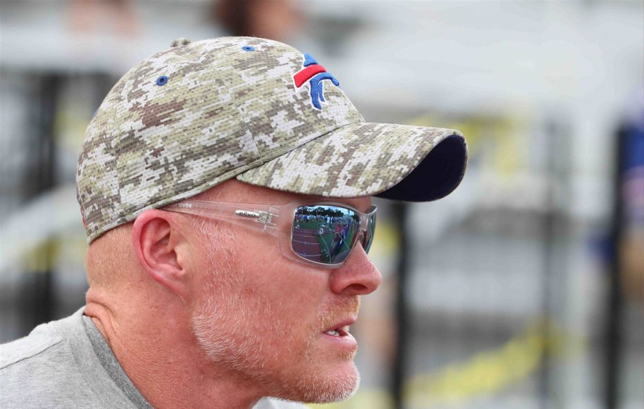 Bills coach Sean McDermott has talked frequently at camp about how jobs have to be earned on his team. (James P. McCoy/Buffalo News)