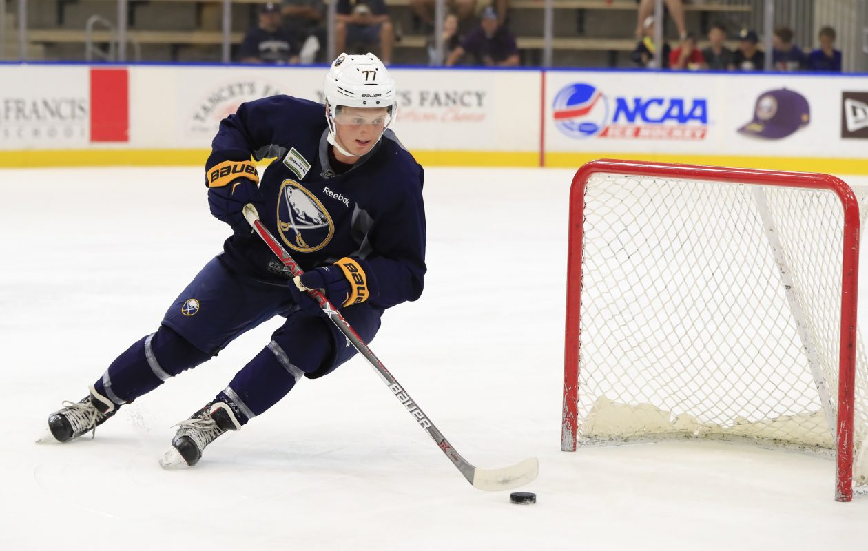 First-round pick Casey Mittelstadt maneuvers around a mini-net the Sabres used during a couple drills Sunday in HarborCenter (Harry Scull Jr./Buffalo News).