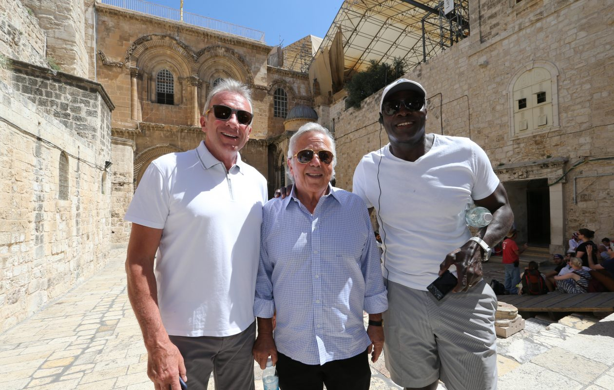 New England Patriots owner Bob Kraft, center, is joined by Hall of Famers Joe Montana, left, and Bruce Smith on a recent trip to Israel. (Photo courtesy of the New England Patriots/Eric J. Adler)