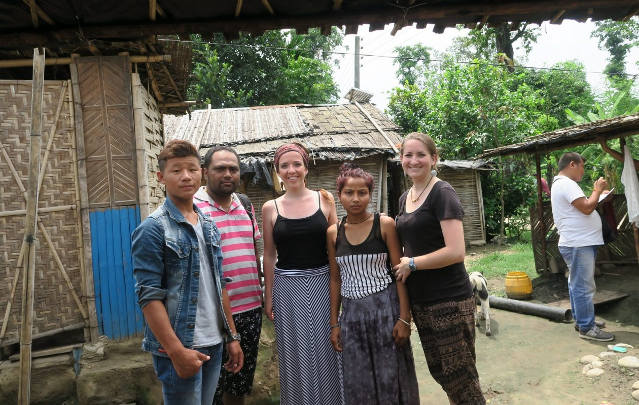 Buffalo teacher Chelsea Ellis, center, and friend Sondra Dawes, right, who works at the Jericho Road Community Health Center, visit a refugee camp in eastern Nepal where Ellis met relatives of one of her students, including the student's sister, Sangita Lohar, second from right. (Photo provided by Chelsea Ellis)