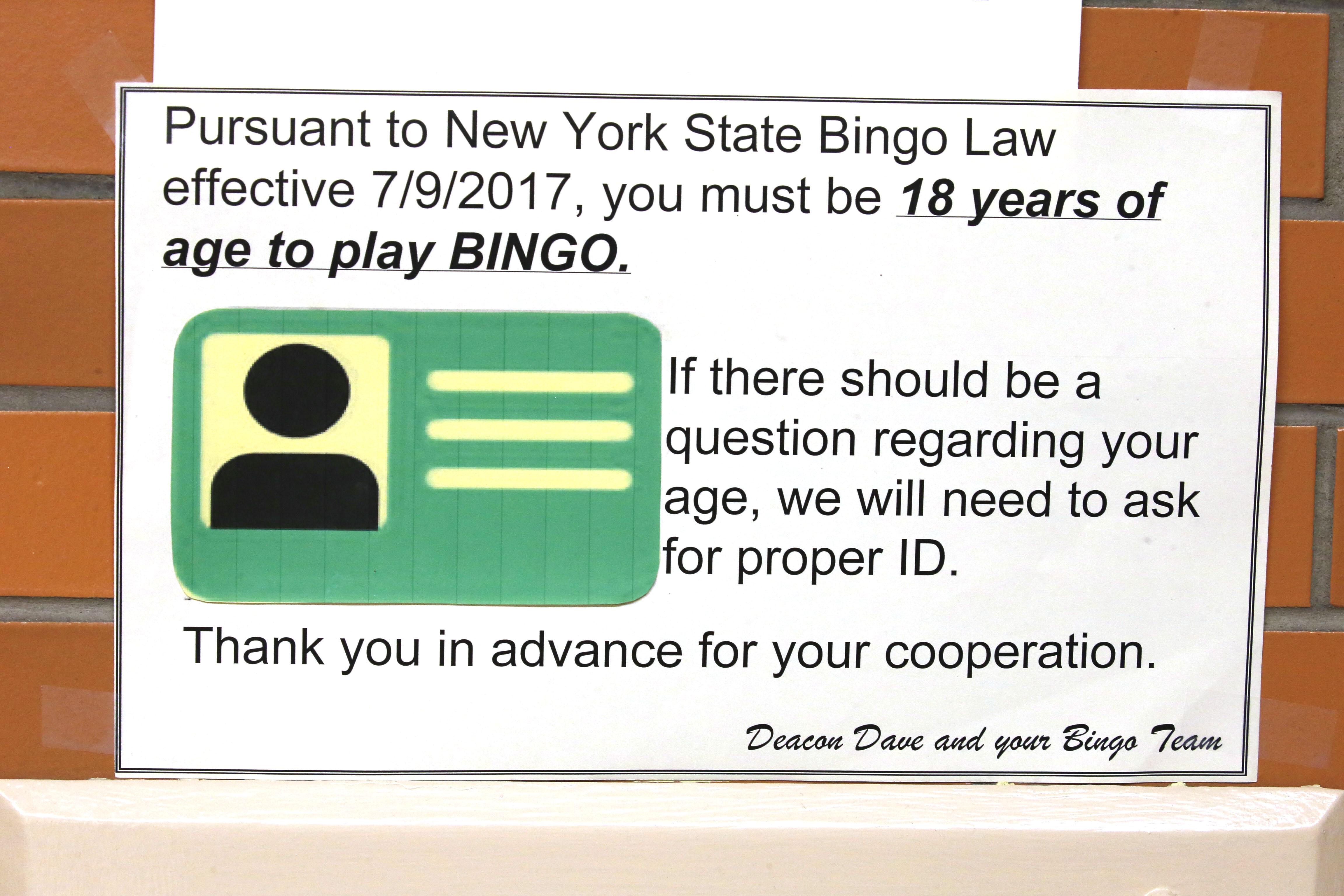 Parish Hall In Sloan Warns That A New State Law Bars Anyone Under 18 From Playing Bingo Robert Kirkham Buffalo News