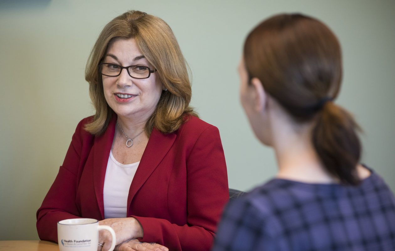 Nora OBrien-Suric, president of the Health Foundation for Western and Central New York, said the foundation is excited to support a collaborative that will expand the scale and scope of services available to help older adults lead a dignified, independent, high-quality life in their community.  (Derek Gee/Buffalo News)