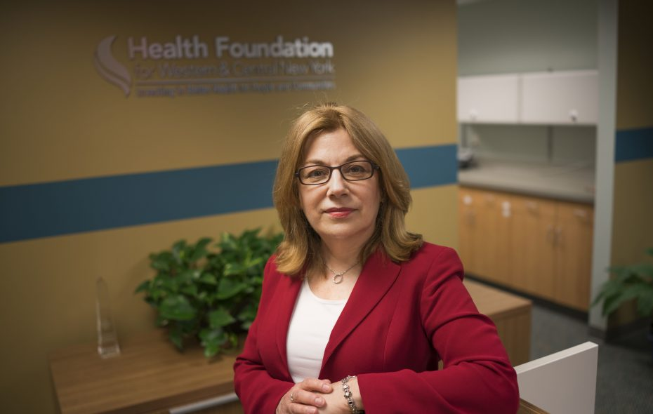 """The thing about health care that drives me crazy is that it's disease-focused. You need a holistic, systems approach. We want to understand the fabric of society and help weave it as tightly as possible."" - Nora OBrien-Suric, president for the Health Foundation of Western and Central New York.  (Derek Gee/Buffalo News)"