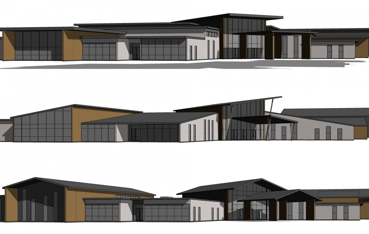 Design options for Orchard Park's Brush Mountain Multigenerational Community Center include, top: gabled, middle: contemporary, and bottom: prairie style.