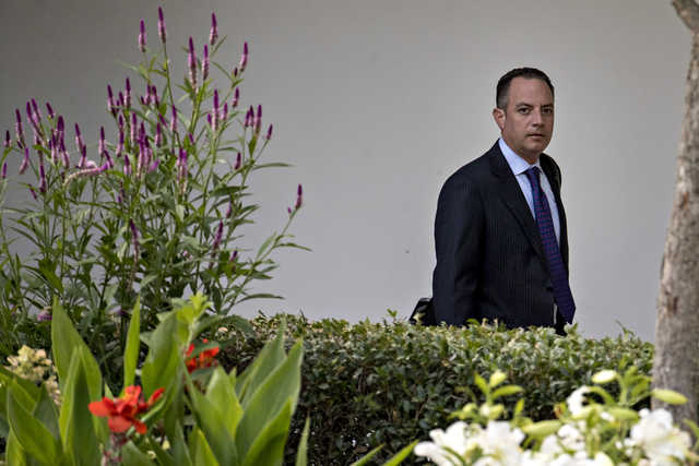 Reince Priebus, then-White House chief of staff, walks through the Colonnade of the White House in Washington, D.C., on July 12, 2017. He was fired from his post on July 28, 2017. (Andrew Harrer/Bloomberg)
