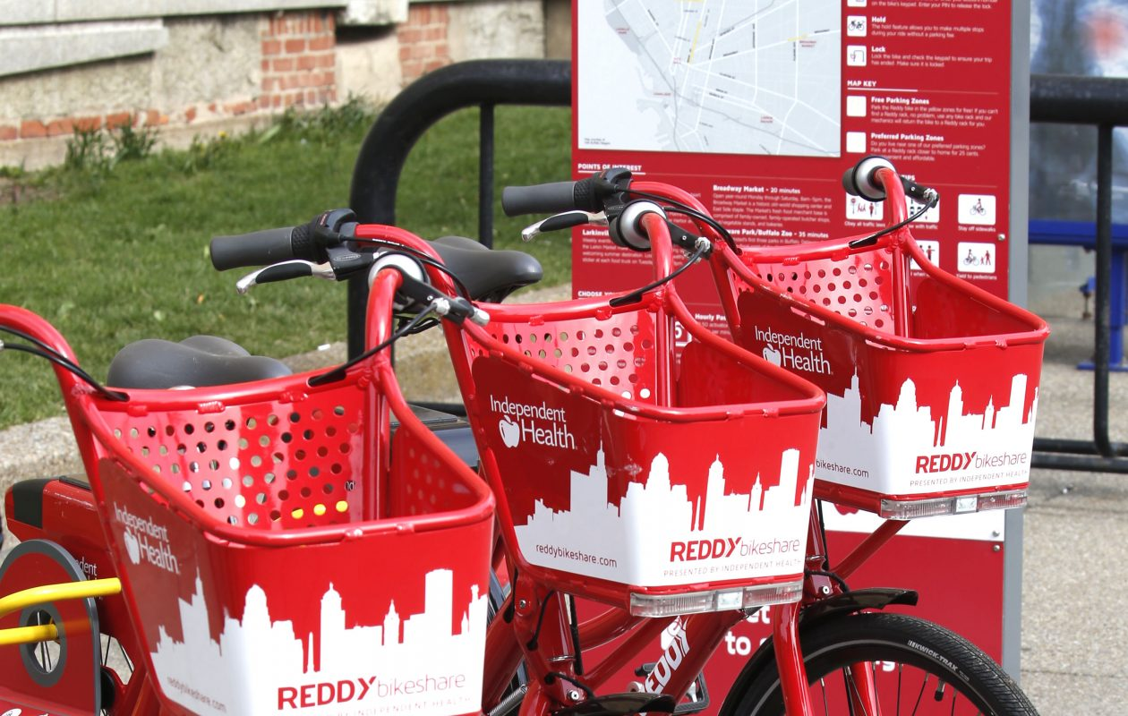 Reddy bikeshare users traveled 65,000 miles and burned 2.6 million calories last year. The new bikesharing season starts in April, and will include more bike racks across the city of Buffalo. (Robert Kirkham/News file photo)