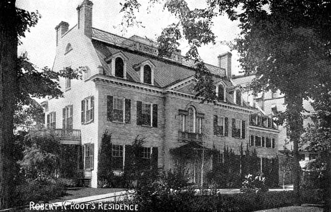 """The Root Mansion was designed by architect Stanford White. He was shot dead at a dinner party atop New York City's Madison Square Garden in 1906. (From the book """"Views of Buffalo,"""" published in 1903.)"""