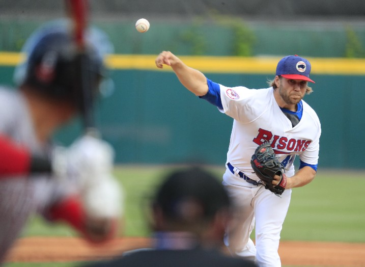 Chris Rowley of the Bisons could have used some runs on Saturday. (Harry Scull Jr./Buffalo News)