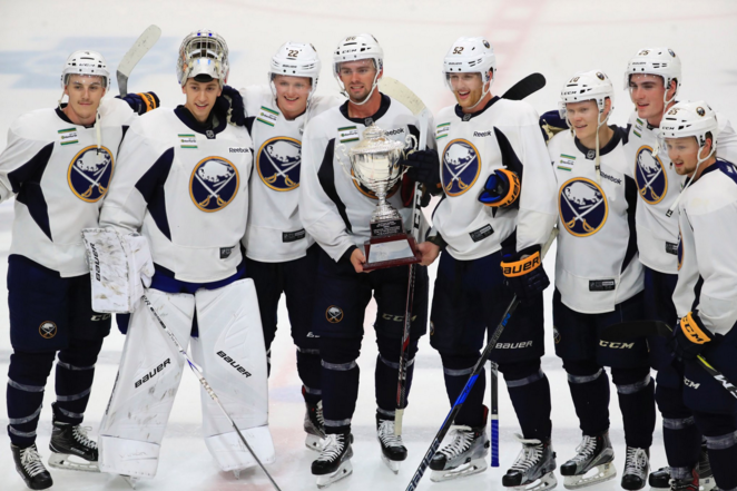 The white team took home the 3-on-3 tournament title at Sabres development camp. (Harry Scull Jr./The Buffalo News)