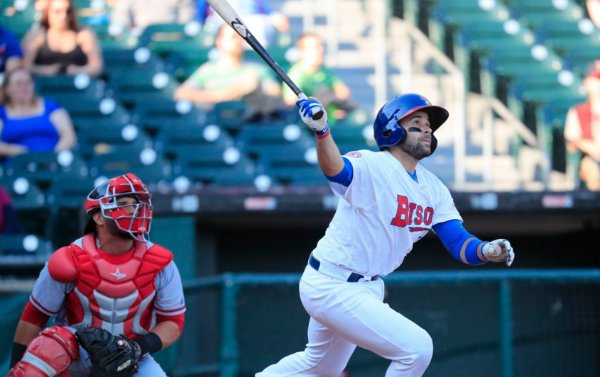 Raffy Lopez recorded two hits in Buffalo's win over Louisville on Sunday. (James P. McCoy/The Buffalo News)