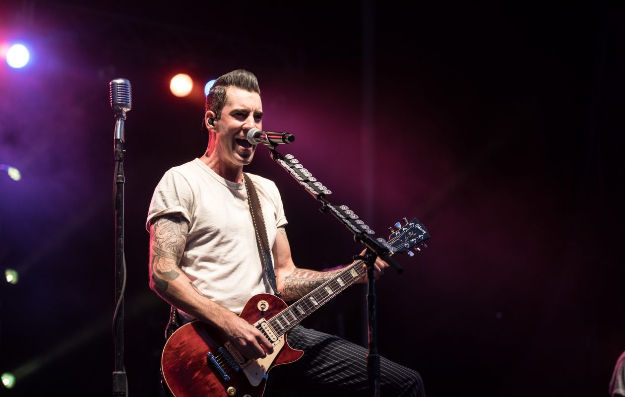 Tyler Connolly of Theory of a Deadman performs at Canalside Live Thursday, July 27, 2017. (Chuck Alaimo/Special To the News)