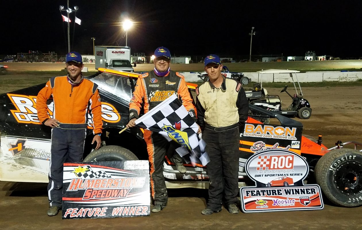 Winner Brad Rouse, runner-up Chad Chevalier and third-place finisher Justin Sharp following the July 2 Race of Champions Sportsman Modified Series' Canada Day $1,000-to-win Showdown at Humberstone.