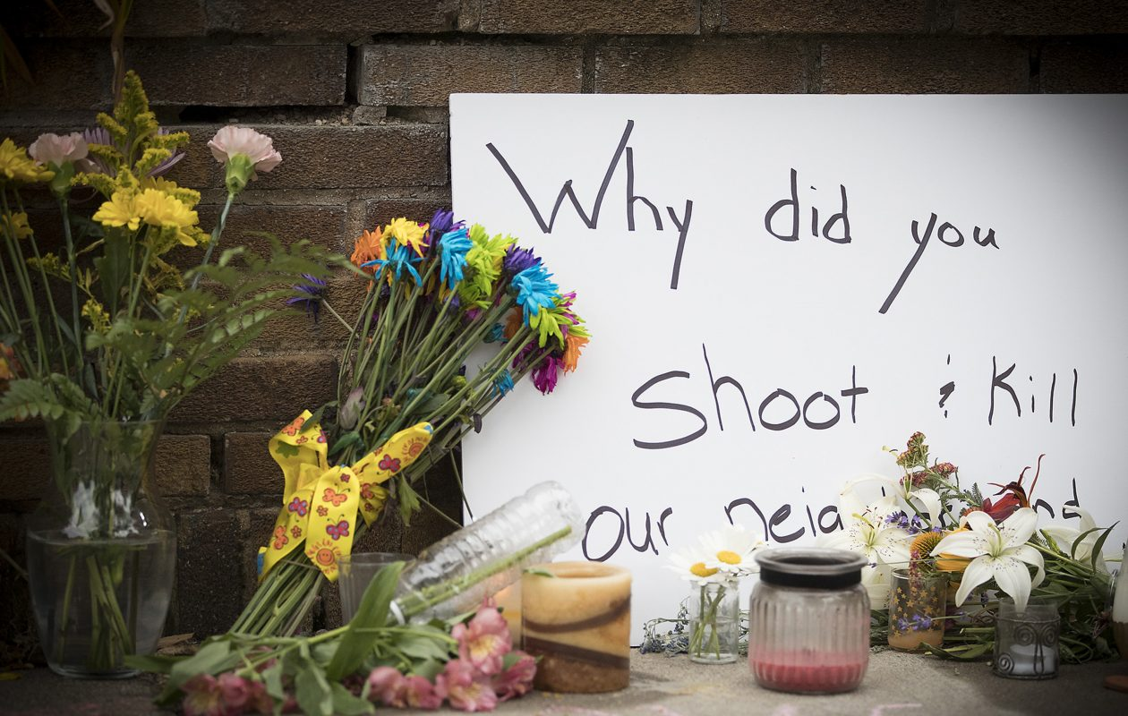 A makeshift memorial was left at the scene on Monday, July 17, 2017 where a Minneapolis police officer shot and killed Justine Damond, in Minneapolis, Minn. (Elizabeth Flores/Minneapolis Star Tribune/TNS)