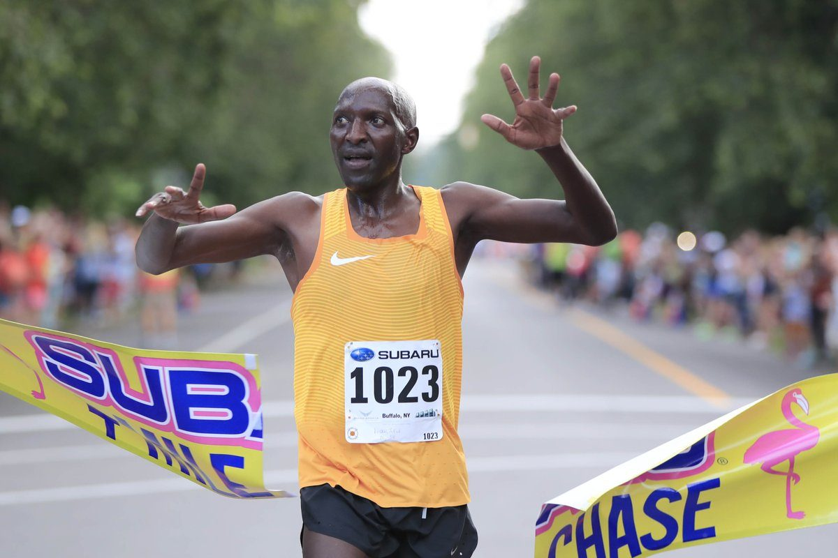 Julius Koskei was a last-minute addition to the Subaru Chase field, and he won. (Harry Scull Jr./Buffalo News)