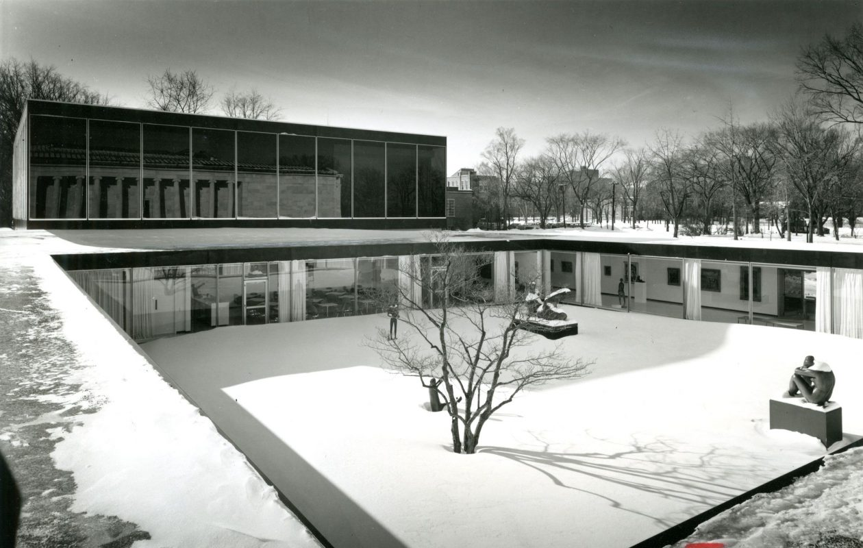 The Albright-Knox Art Gallery's courtyard, designed by Gordon Bunshaft and shown here in a news file photo from Jan. 19, 1962, is slated to be reconfigured in the gallery's planned expansion.
