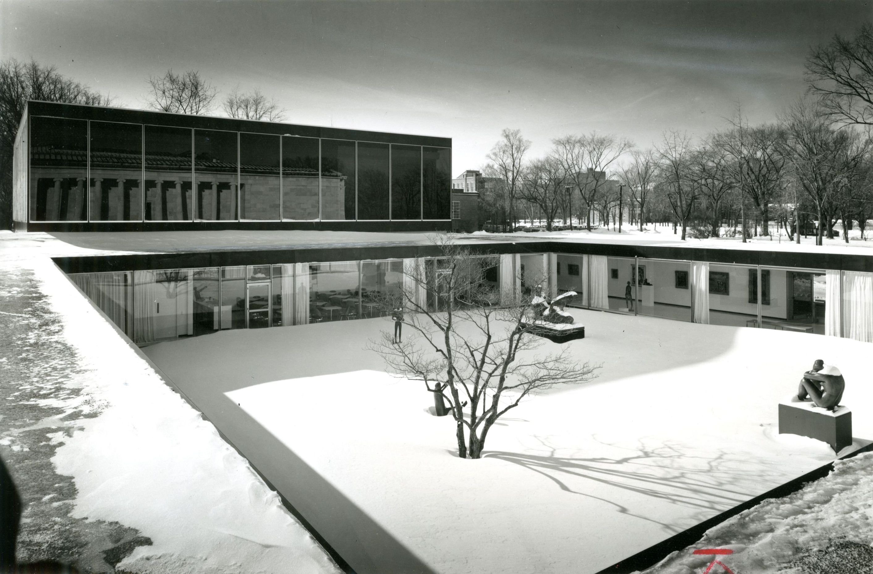 A 1957 plan to expand the Albright Art Gallery by architect Paul Schweikher was roundly criticized by the public and eventually shelved by the gallery.