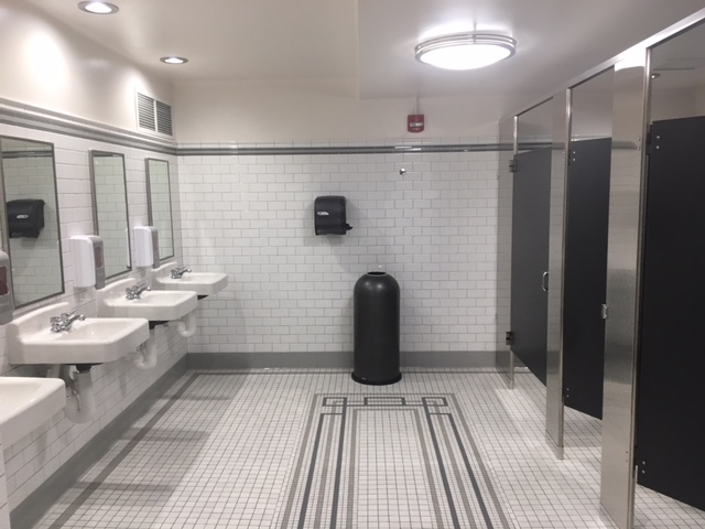 Newly remodeled public restrooms in City Hall unveiled Wednesday.