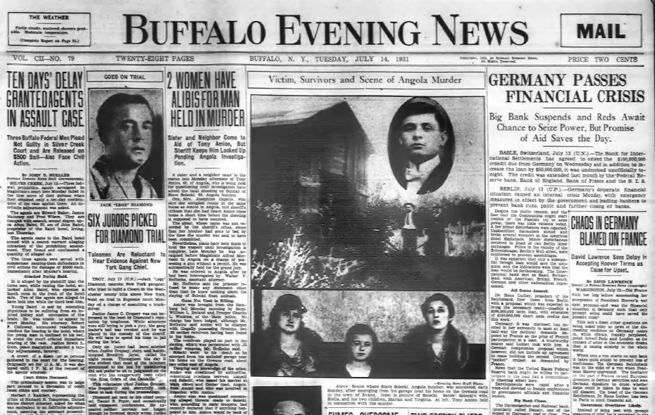 The murder in Angola made the front page of the July 14, 1931, Buffalo Evening News.
