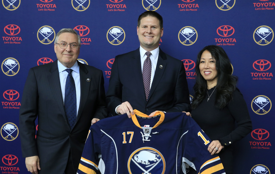 GM Jason Botterill, center, and owners Terry and Kim Pegula have a lot to ponder in the wake of the Sabres' collapse. (Harry Scull Jr./News file photo)