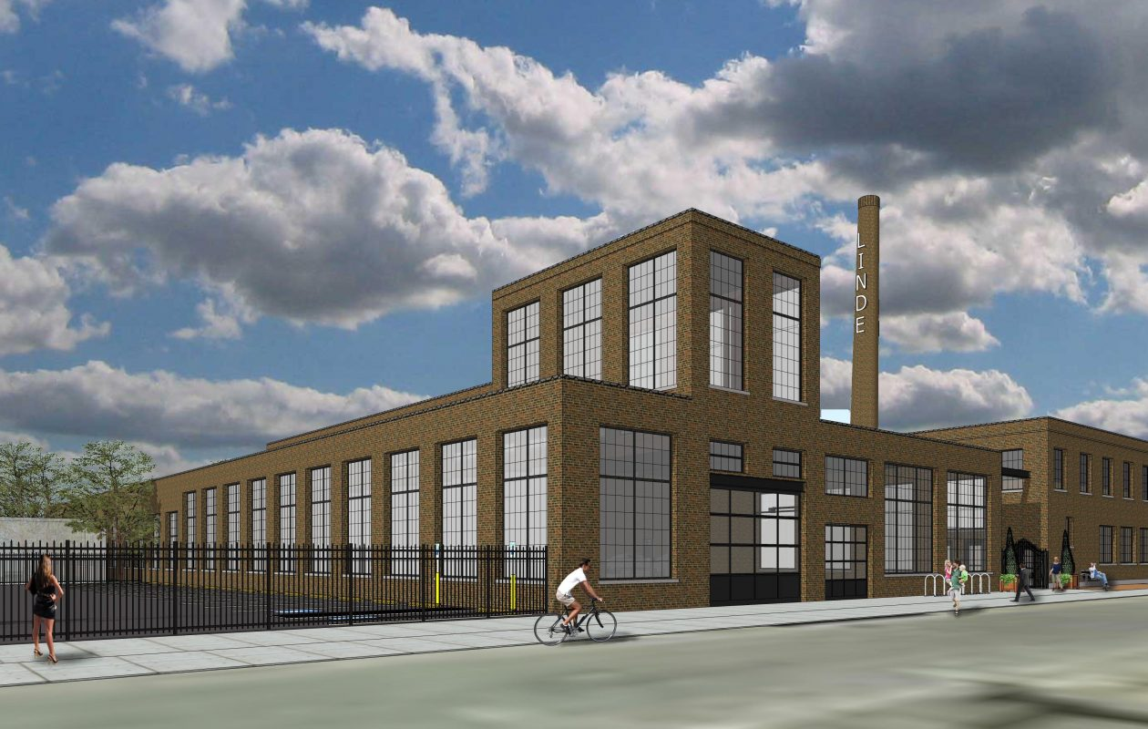 An architectural rendering of Rocco Termini's proposed redevelopment of the former Linde Air Manufacturing plant at 155 Chandler St. in Buffalo.
