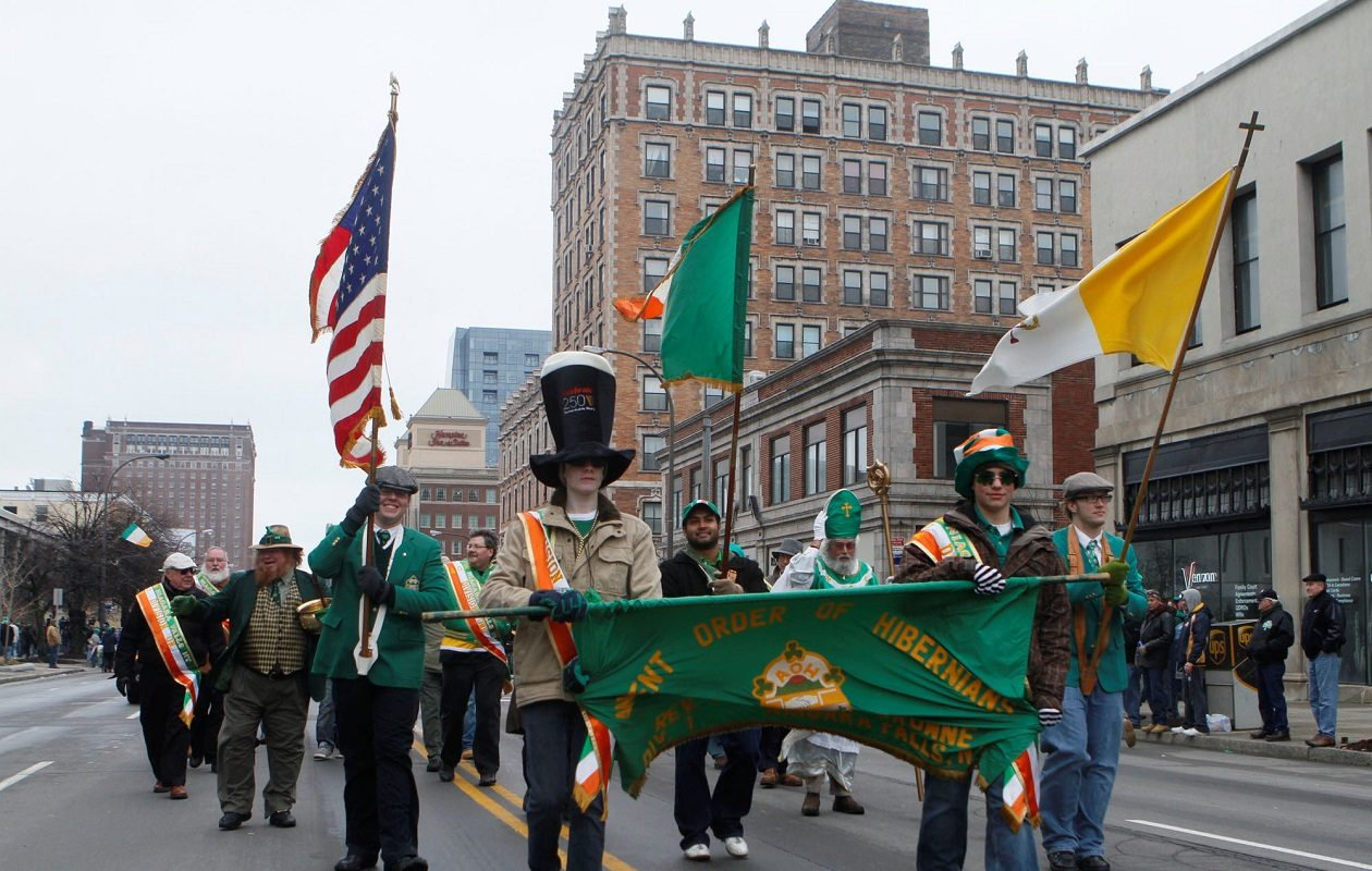Members of the Ancient Order of Hibernians, Niagara Falls chapter, marched in Buffalo's 68th annual St. Patrick's Day Parade on Delaware Avenue in Buffalo, N.Y. on March 14. 2010. {John Hickey/Buffalo News file photo)
