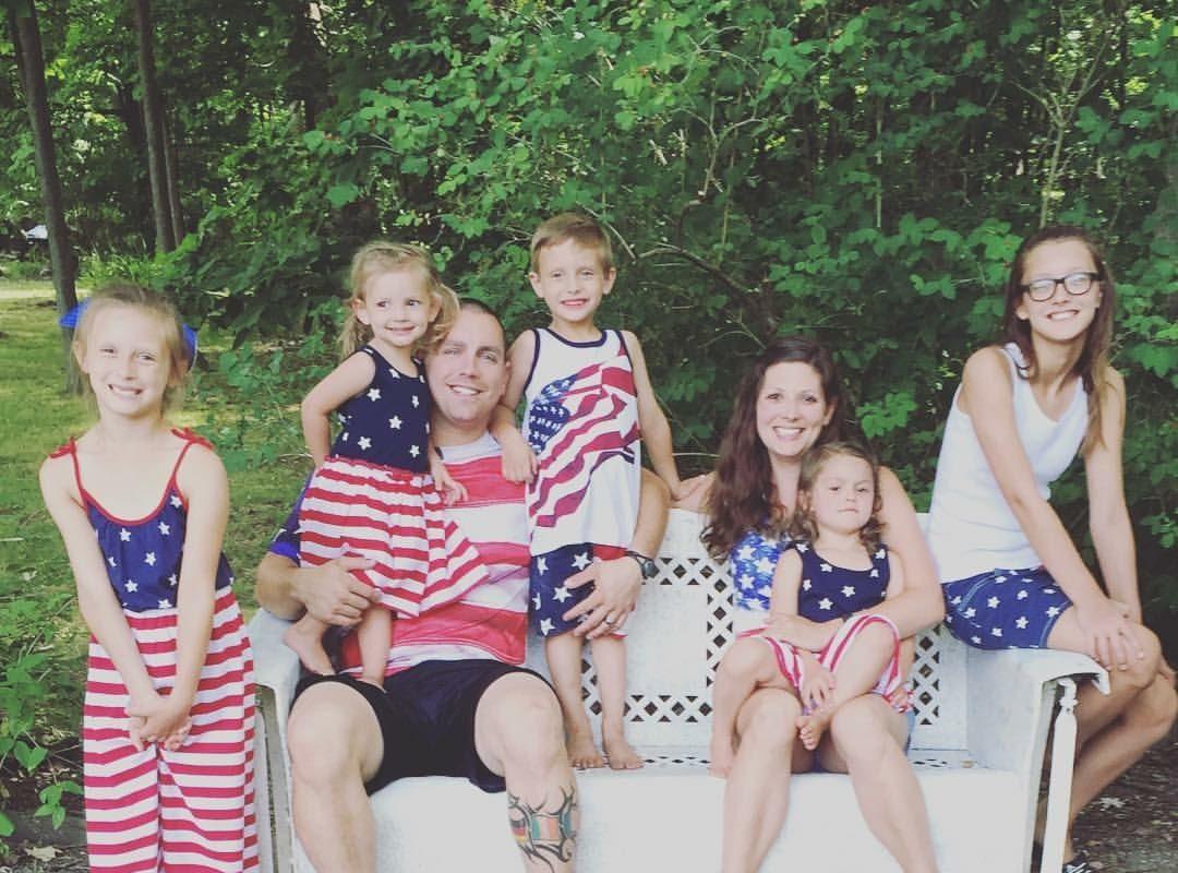 Toni and Jordan Lambert and their five children. (Provided photo)