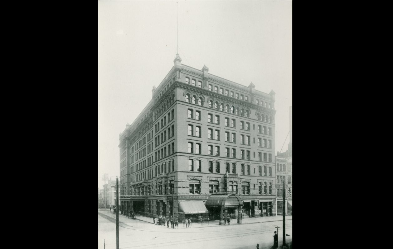 The Iroquois Hotel, pictured in 1896, was located where One M&T Plaza is now.